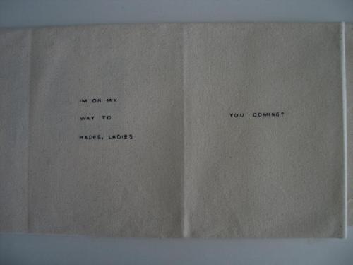 © Victoria Bean, 'Bang bang', hand sewn Helvetica
